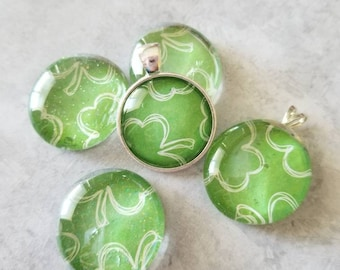 White Sketched Shamrock/Clover Decorated Pendants, Magnets, Cabochon Necklace