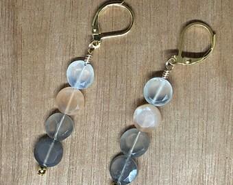Gray Labradorite Beaded 14k Gold Earrings
