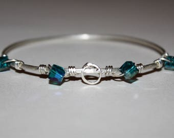Sterling Silver wire wrap Blue beaded bangle bracelet - The Sea and Me -