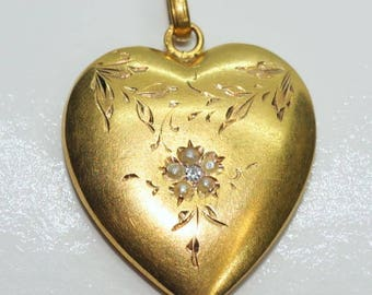 Antique 15ct Yellow Gold Heart Pendant with Seed Pearls & Diamond Centre
