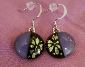 Dichroic fused dangle earrings