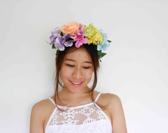 multi-pastel spring races fascinator - [statement headpiece, rainbow flower headband]
