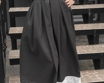 Original Black And White Linen Dress With The Lace And Ukrainian Embroidery Custom Ukrainian Traditional Dress Vyshyvanka Ethnic Clothing