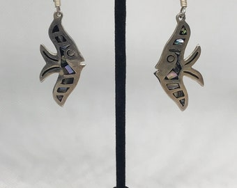 Vintage Taxco Sterling Silver TM-183 925 and Abalone Angel Fish Earrings MARKED