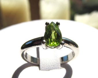 8x5mm Pear-Shaped Peridot Sterling Silver Solitaire Ring in Size Seven, 1.12 carats