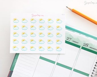 Partly Cloudy Stickers, 30 Watercolor Weather Planner Stickers, Hand Drawn, Weather Icons, Weather Trackers, Cloud Stickers, WWC3