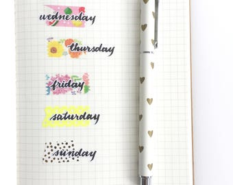 Days of The Week Planner Stickers, 28 Hand Lettered Stickers, Brush Script, Modern Calligraphy, Bullet Journal, Diary, Calendar, DAY9