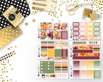 119: Paprika Floral Fall Weekly Sticker Kit - Planner Stickers - Fall Stickers