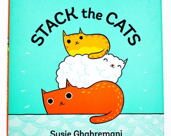 Child gift, CAT picture book, STACK the CATS, Susie Ghahremani, children kids books, toddler book for kids, personalized book baby