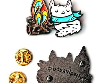 enamel cat pin enamel pin, camping jewelry, campfire camp fire, cat enamel pin, summer camp, adventure gifts, white cat jewelry camping pins