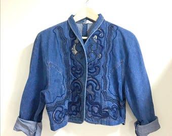 sale*Embroidered denim jacket cropped jacket m/l