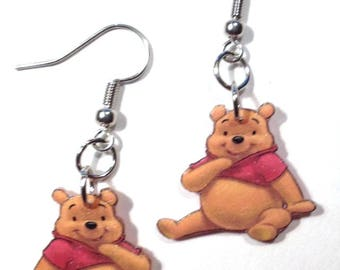 Handcrafted Plastic Pooh Bear Earrings, Necklace or Keyring Your Choice Made in USA NEW