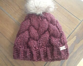 Chunky Knit Cable Beanie with Pom-Pom:  Maroon & Tan