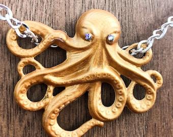 Handpainted Necklace Midas the Octopus Pendant in Metallic Gold