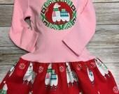 Girls Pink Llama Christmas Dress -Applique Holiday Dres...