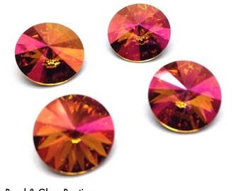 Swarovski Crystal Rivoli #1122, 12mm, 4 pieces, Mahogany