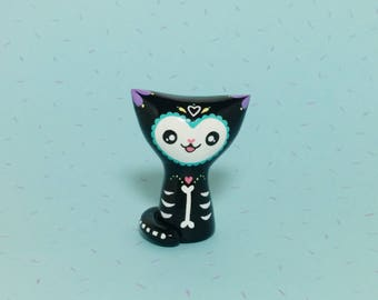 Day of the Dead Kitty - Clay Cat Figurine