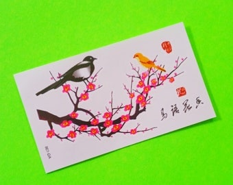 Birds and Cherry Blossoms Classic Contemporary Sweet Songbird on a Branch Adorable Multi Sheet Colour Temporary Tattoo
