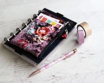 Crushed velvet bag - floral journal accessories - mini happy planner bag - small planner pouch - franken planner cover - pen holder
