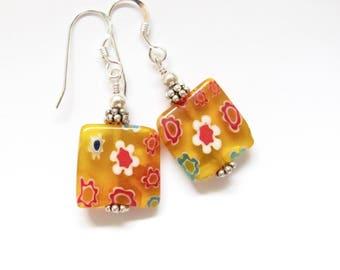 Sterling Silver Earrings, Millefiori Beaded Dangle Drop, Yellow Flower Dainty, Spring Summer Outdoor Jewelry, Bright Cheerful Tween