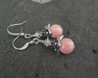 Pink Coral Earrings Swarovski Crystal Pearl Dainty Beaded Jewelry