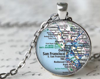 City Map Pendant, Necklace or Key Chain - Custom Personalized Map, Worldwide, Custom Map Necklace, Keychain, Keyring