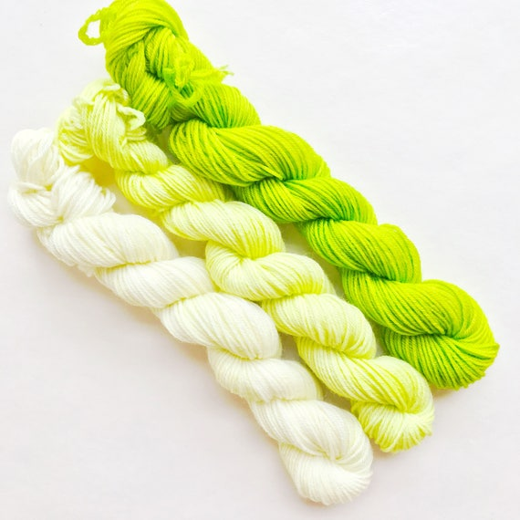 LIME fade set of hand dyed yarn mini skeins. Gradient ombre SET
