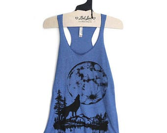 Large - Tri-Blend Blue Racerback Tank with Moon Wolf Screen Print