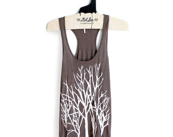 M- Brown Slub Racer Back Tank with Branch Trees Screenprint