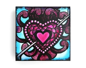9 x 9 x 2 inch Sacred Heart Screen Print and Painting on Canvas - SALE