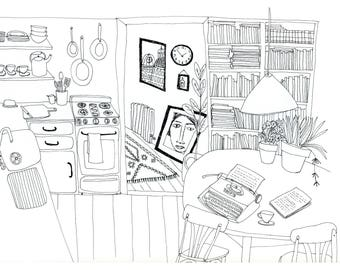 1940's Black and White Apartment Line Ink Drawing. A Writer's Home.