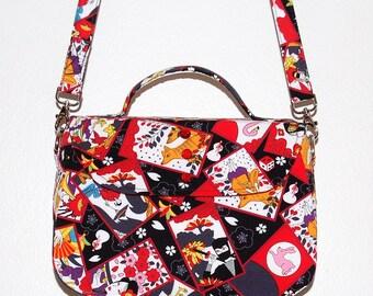 Hanafuda Shoulder Bag -  Japanese Cards, Japanese Card Game, Black and Red, Rockabilly Style, Ninja, Geisha, Kitsune, Fox Mask, Pink Flowers
