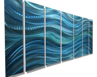 ON SALE! Large Multi Panel Modern Metal Wall Art In Aqua Blue, Abstract Water Painting, Indoor Outdoor - Calm Before the Storm by Jon Allen