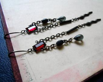 charmed - snake earrings rosary bead earrings repurposed jewelry ruby red rhinestone earrings repurposed collage earrings asymmetrical