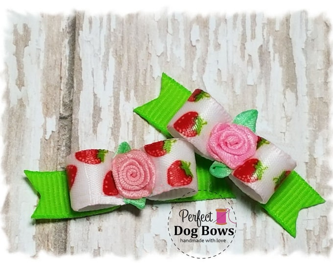 Strawberries Dog Bows, Small Pet Bow, Bows for Dogs, Summer Dog Hair Bow