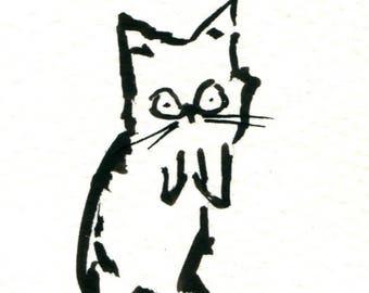 Original Black Cat Gouache Painting ACEO number 173