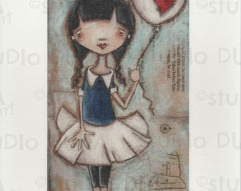 Print of my Original Whimsical Mixed Media Girl with Balloon Painting - Hold on Tight
