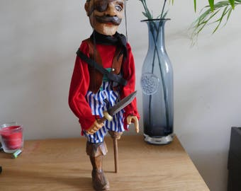 Wooden Carved Pirate Marionette