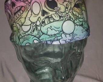 Pastel Rainbow Zombies Custom Print Cotton/Lycra Stretch Knit Scrunchy Wide Headband