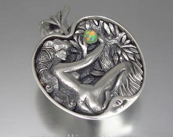 EVE's APPLE silver pendant with Opal - Ready to ship
