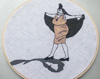 Sybil Leek, witch & Mr. Sawtooth Jackson, familiar  - hand drawn, painted and embroidered hoop art wall hanging #witchaday 14/31