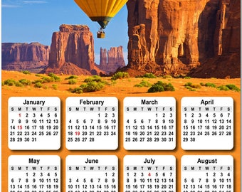 """Colorful Balloon Over Desert 2018 Full Year View 8"""" Calendar - Magnet or Wall #3828"""