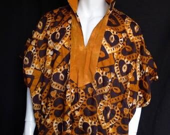 Spirit World Poncho© African Wax Print, Caftan, Dashiki Menswear, Festival Clothing