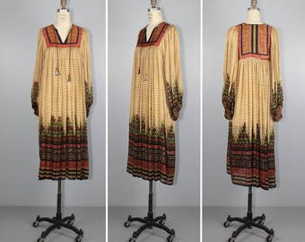 Judith Ann / I Magnin / 1970s / india / DESERT QUEEN vintage silk bohemian dress