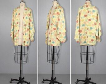 haori / silk jacket / vintage kimono / YUZUKI floral silk robe