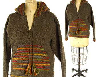 80s Oversized Hand Dyed Ethnic Sweater Vintage 1980s Hooded Pull Over Knit Blanket Coat Chunky Warm Wool Boxy Hippie Boho South American