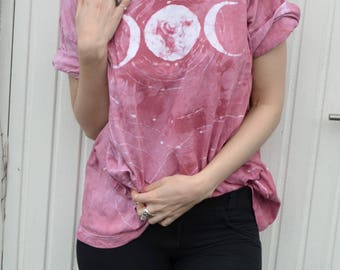 ROUND triple moon soft tie dye t-shirt // coral XL XXL oversize