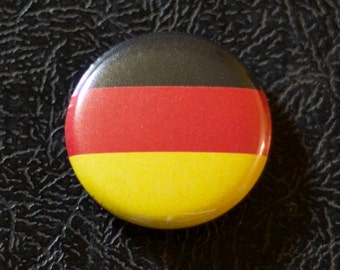 "1"" Germany flag button, country, pin, badge, pinback, Made in USA"