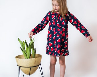 Watermelon long sleeved cotton dress girl toddler baby Supayana