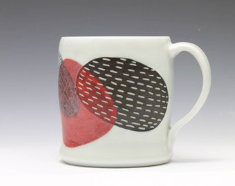 Red Black and White Porcelain Coffee Cup Mug